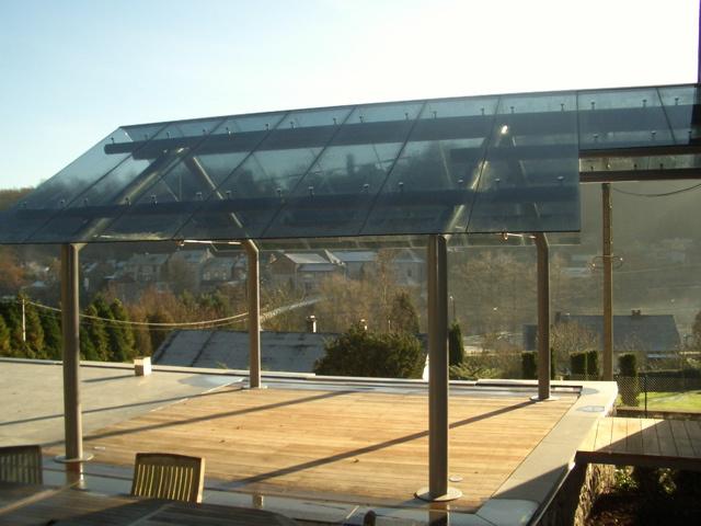 Siroco - Auvent  - Verre feuilleté trempé Gris