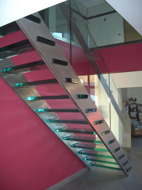 Siroco - Garde corps - Escalier en inox avec Garde corps et marche en verre